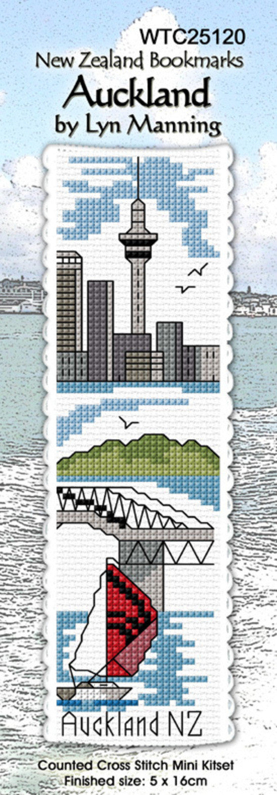 Cross-stitch bookmark - Auckland