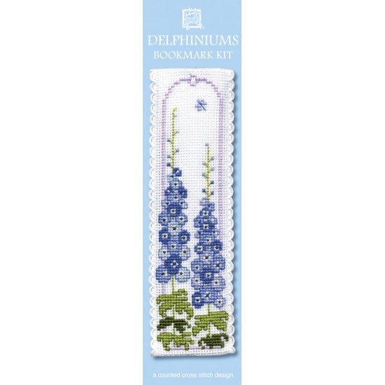 Cross-stitch bookmark kit - Delphiniums