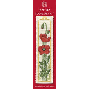 Cross-stitch bookmark kit - Poppies