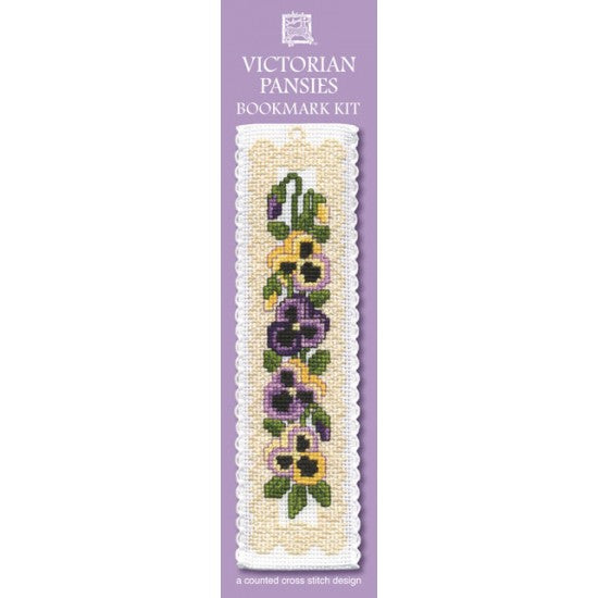 Cross-stitch bookmark kit - Victorian Pansies