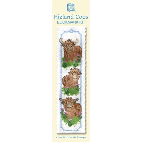Cross-stitch bookmark kit - Wee Highland Coos