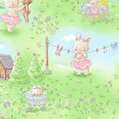Dancing Bunnies in the Garden - Adorable children's print