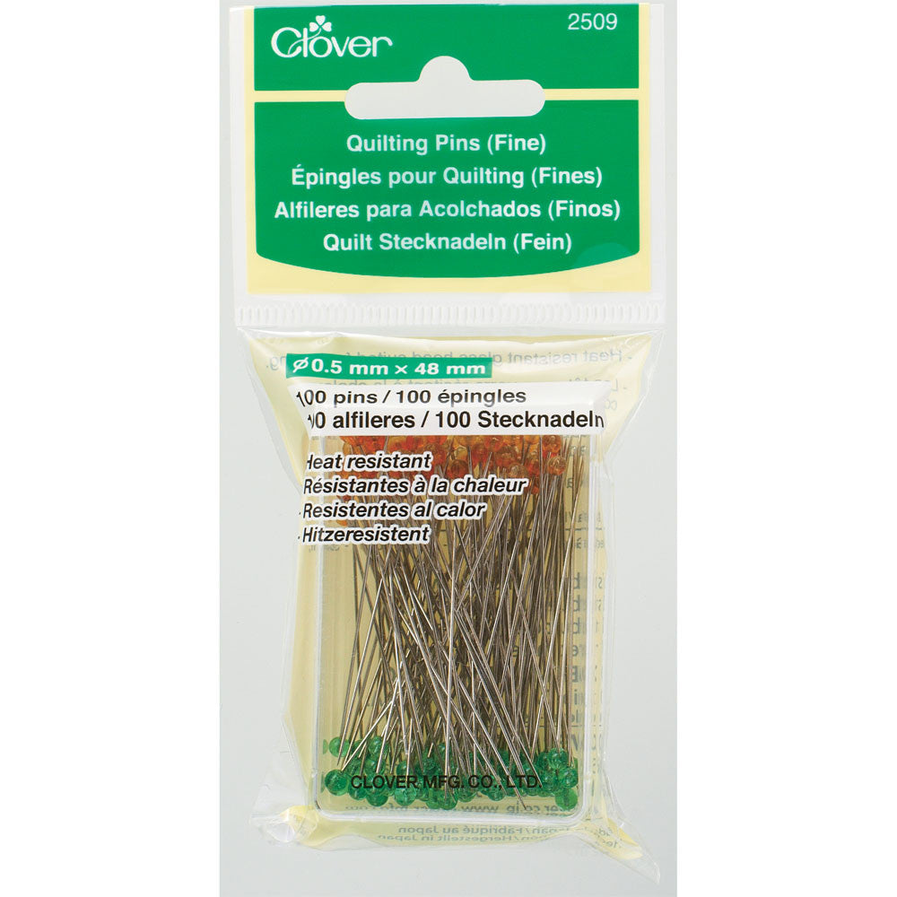 Clover 2509 - Quilting Pins with Glass Head - Fine
