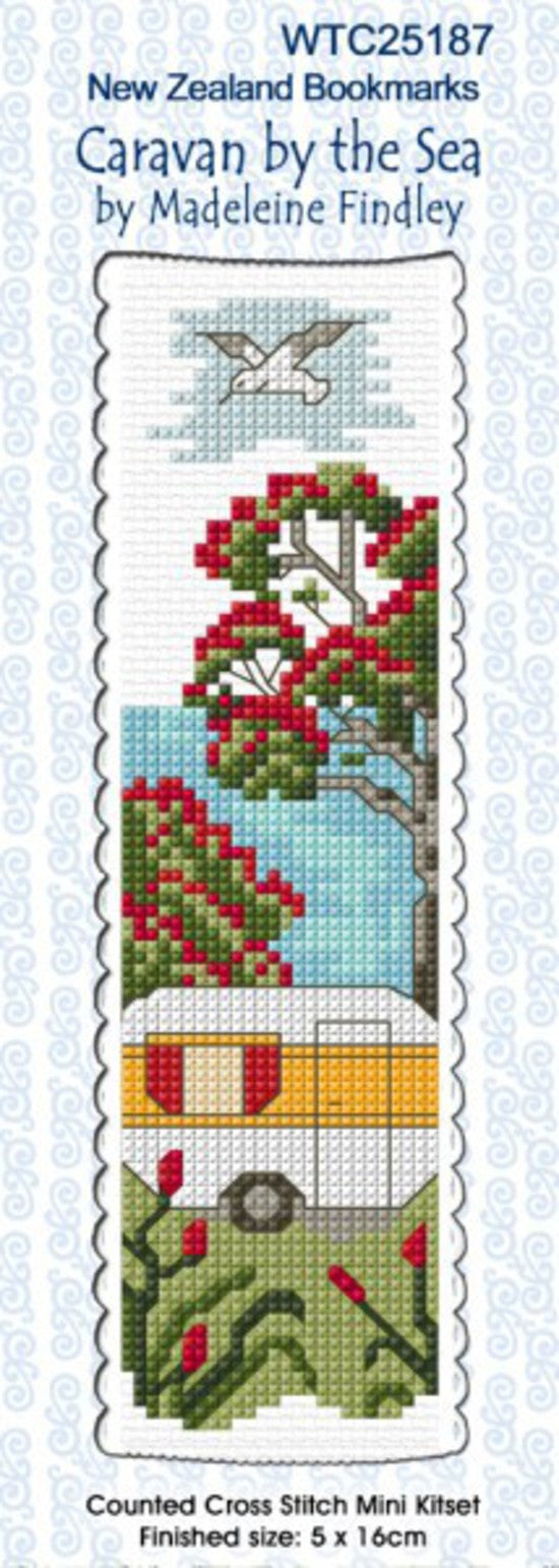 Cross-stitch bookmark - Caravan by the Sea