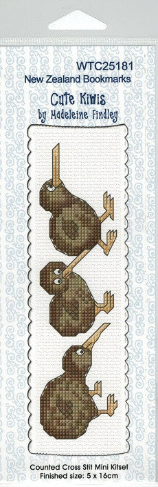 Cross-stitch bookmark - Cute Kiwis
