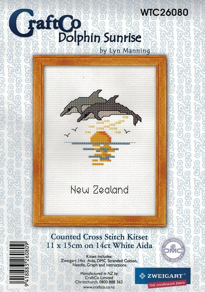 Cross-stitch kit - Dolphin Sunrise