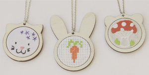 DMC Embroidery Hoop Necklaces - Bunny or Teddy Bear