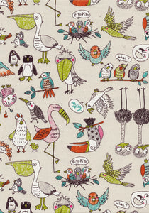 Feza - Playful bird print on linen-coloured background