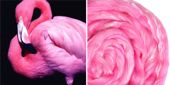 Silk Merino Scarf Felting Kit - Flamingo
