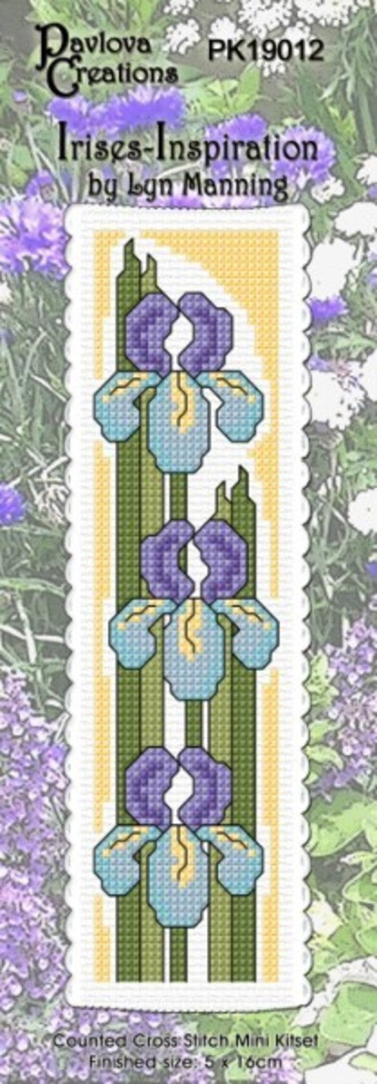 Cross-stitch bookmark - Irises