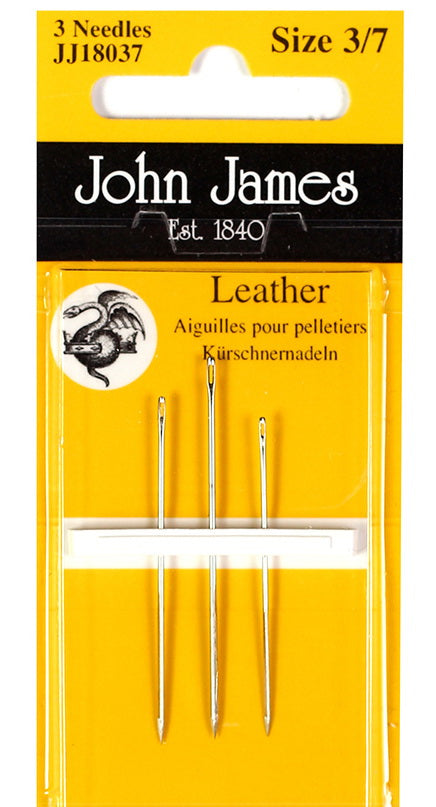 John James - 3 Leather needles - for leather, or luggage/suitcase repair