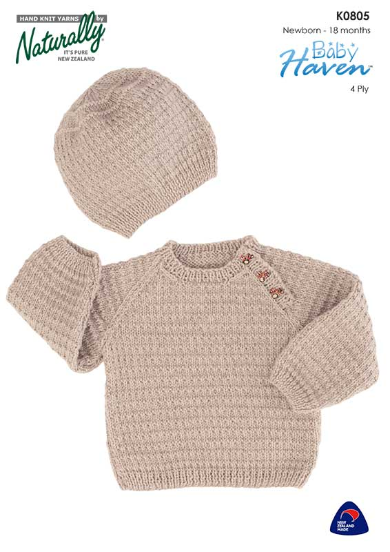 Naturally Knitting Pattern K0805 - Babies Hat & Jumper with Raglan Sleeves and side button close in 4-ply / Fingering for ages 0 to 18 months