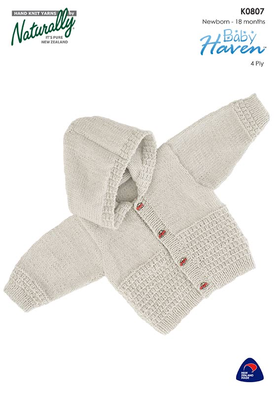 Naturally Knitting Pattern K0807 - Babies Hooded Cardigan in 4-ply / Fingering for ages 0 to 18 months