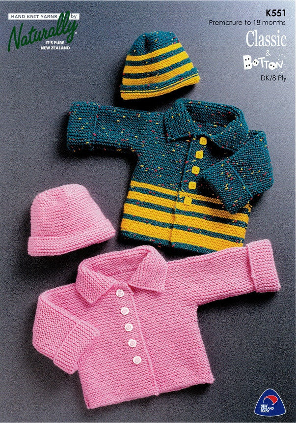 Naturally Knitting Pattern K551 - Childrens two Cardigans and Hats in 8-ply / DK