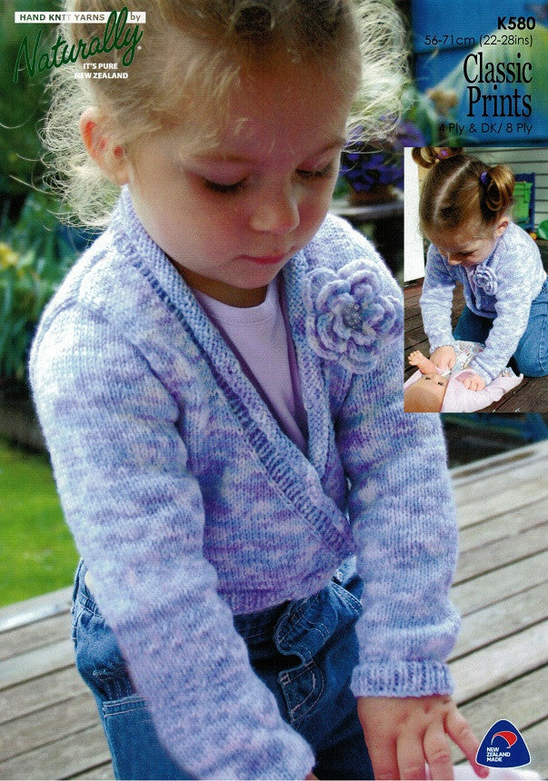 Naturally Knitting Pattern K580 - Childrens Cropped Wrap-around Jacket in 8-ply / DK