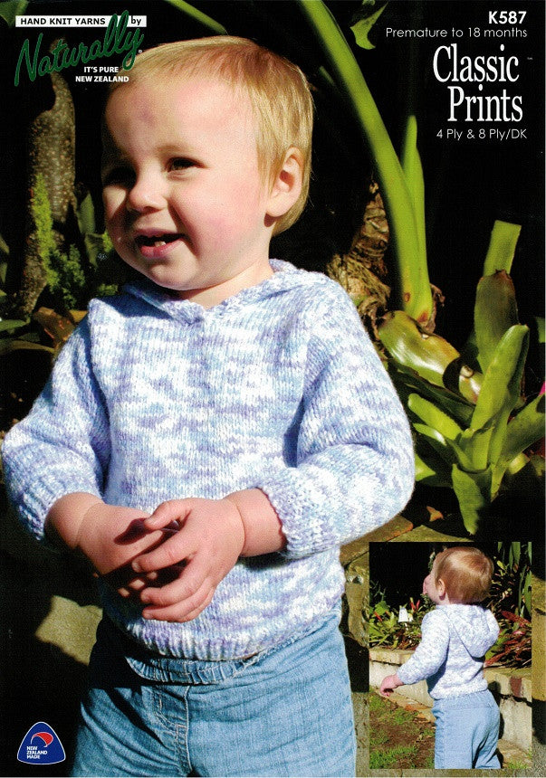 Naturally Knitting Pattern K587 - Babies Hooded Pullover in 4-ply / Fingering and 8-ply / DK