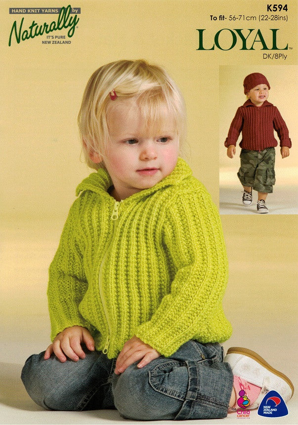 Naturally Knitting Pattern K594 - Childrens Zippered Cardigan in 8-ply / DK