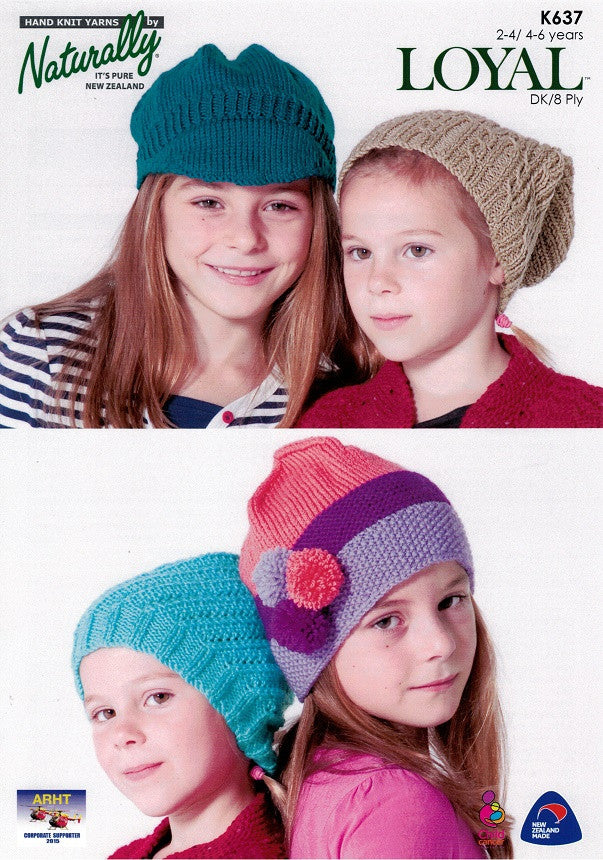 Naturally Knitting Pattern K637 - Four Childrens Hats in 8-ply / DK