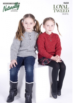 Naturally Knitting Pattern K654 - Girls jumper in 8-ply / DK for ages 2-8