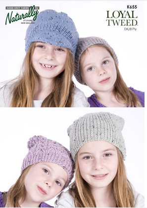 Naturally Knitting Pattern K655 - Four children's hats in 8-ply / DK