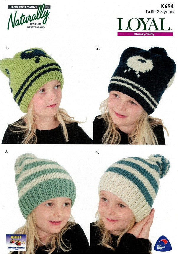 Naturally Knitting Pattern K694 - Childrens Sheep or Stripped Hats in 14-ply / Chunky for ages 2-8
