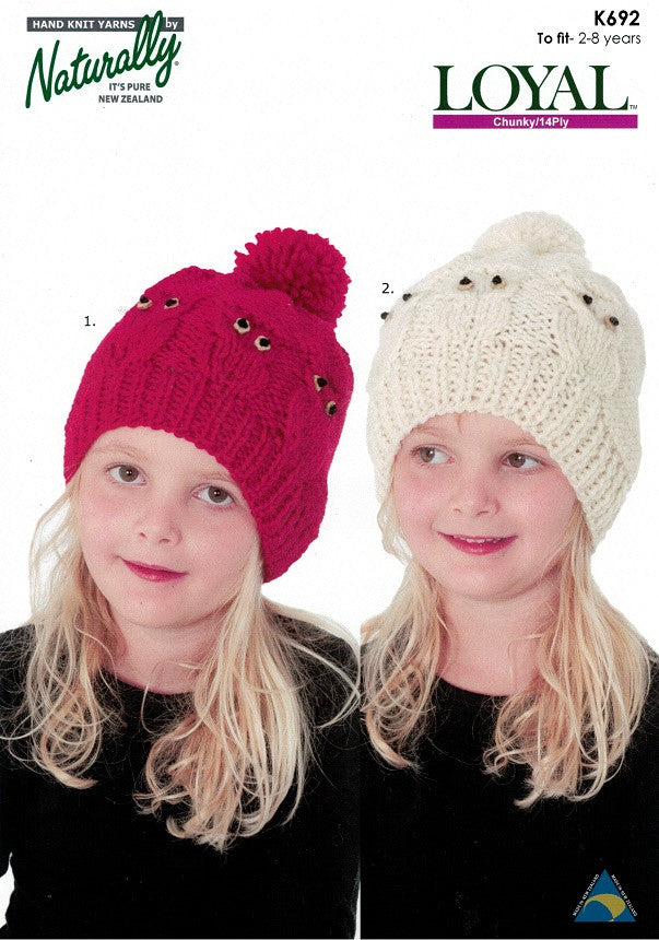Naturally Knitting Pattern K692 - Childrens Cabled Owl Hats in 14-ply / Chunky for ages 2-8