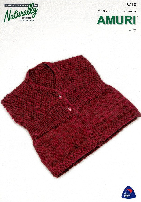 Naturally Knitting Pattern K710 - Babies / Childs Vest in 4-ply / Fingering
