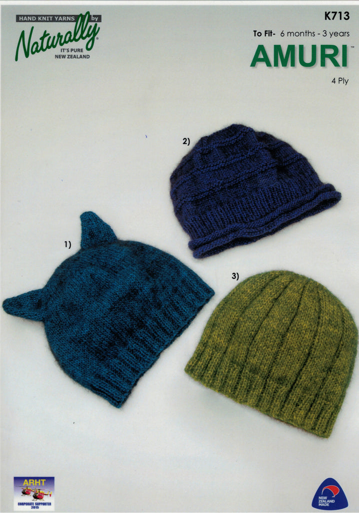 Naturally Knitting Pattern K713 - Babies / Childs three hats in 4-ply / Fingering