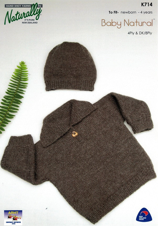 Naturally Knitting Pattern K714 - Childrens Pullover and Hat in 4-ply / Fingering and 8-ply / DK for ages 0-4