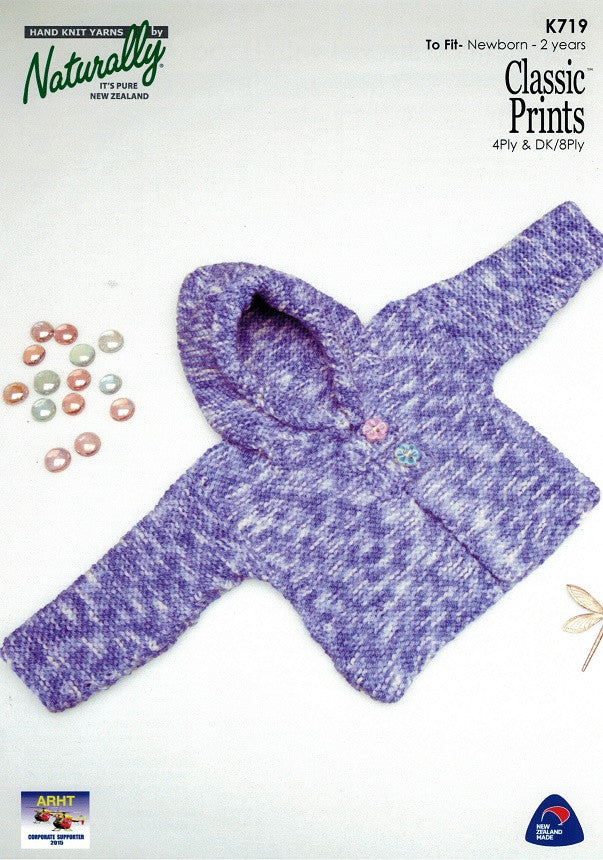 Naturally Knitting Pattern K719 - Babies Hooded Cardigan in 4-ply ...