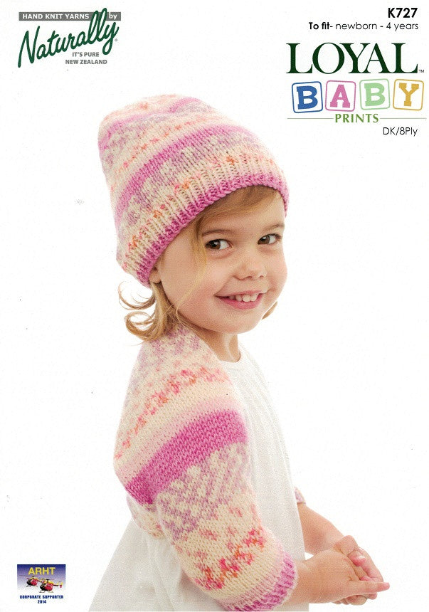 Naturally Knitting Pattern K727 - Girls Shrug and Hat in 8-ply / DK