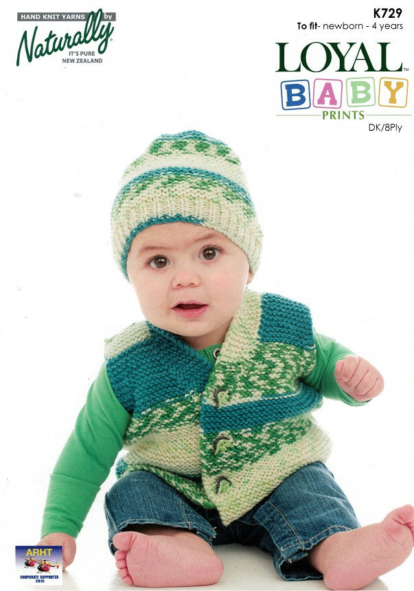 Naturally Knitting Pattern K729 - Childrens Vest and Hat in 8-ply / DK