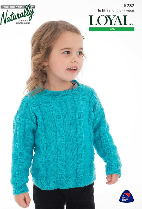 Naturally Knitting Pattern K737 - Babies/Childrens Pullover in 4-ply / Fingering for ages 6 months to 4 years