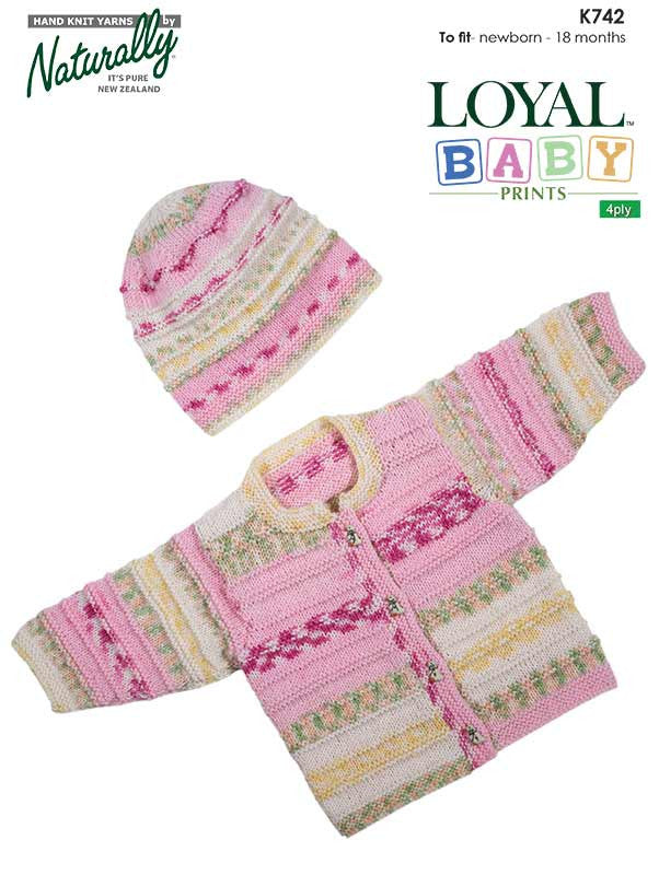 Naturally Knitting Pattern K742 - Babies Cardigan and Hat in 4-ply / Fingering for ages 0 to 18 months
