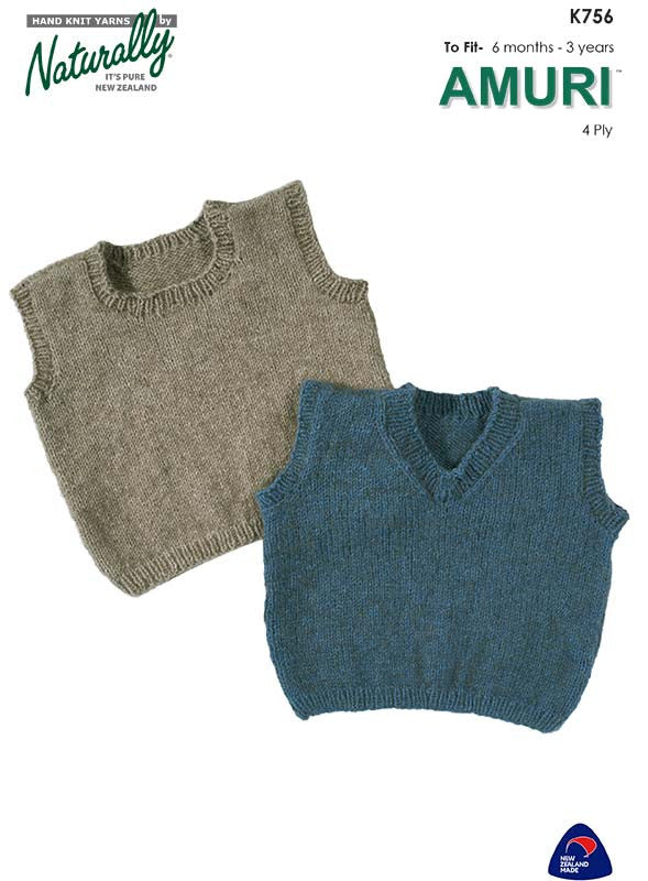 Naturally Knitting Pattern K756 - Babies / Childs Vest for ages 6 months to 3 years in 4-ply / Fingering