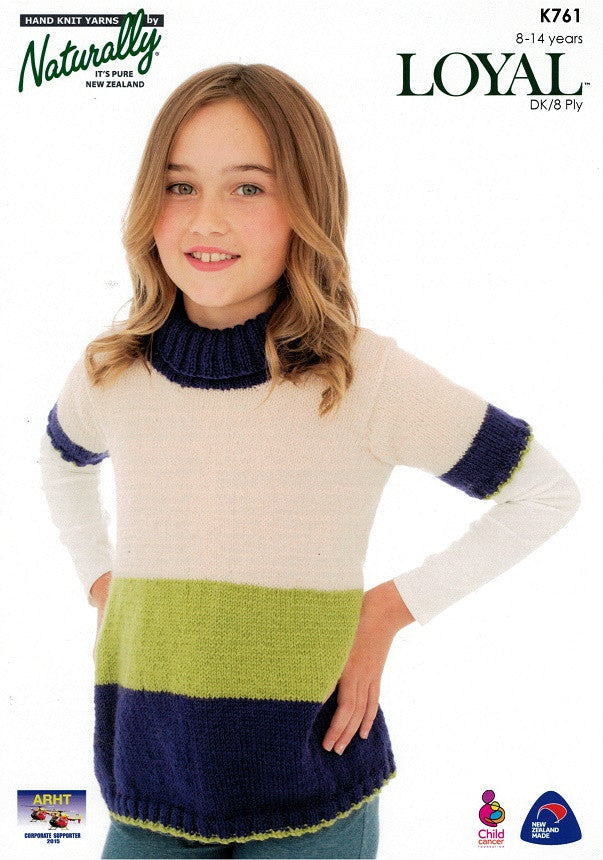 Naturally Knitting Pattern K761 - Girls Flared Three-tone Top in 8-ply /DK