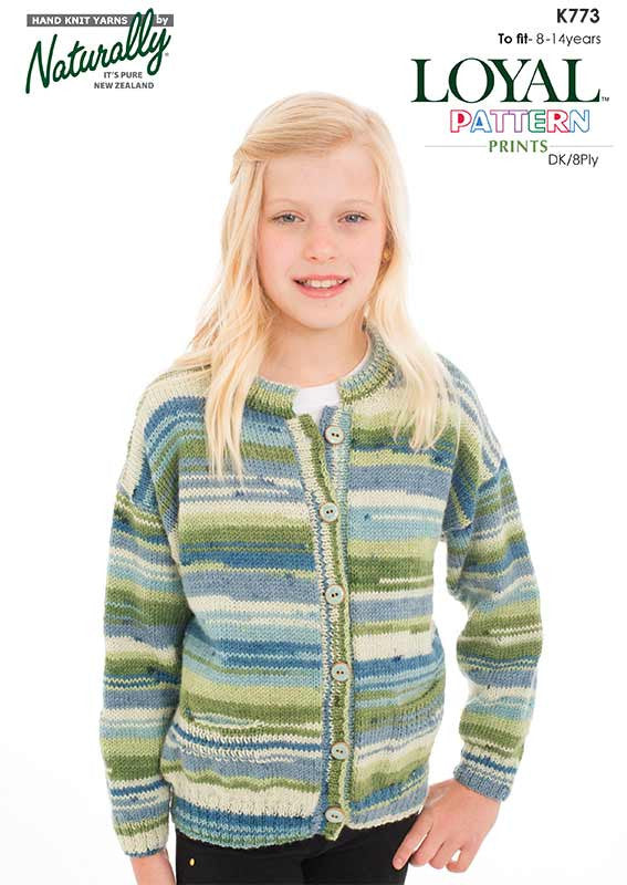 Naturally Knitting Pattern K773 - Girl's Cardigan in 8-ply / DK for ages 8 - 14