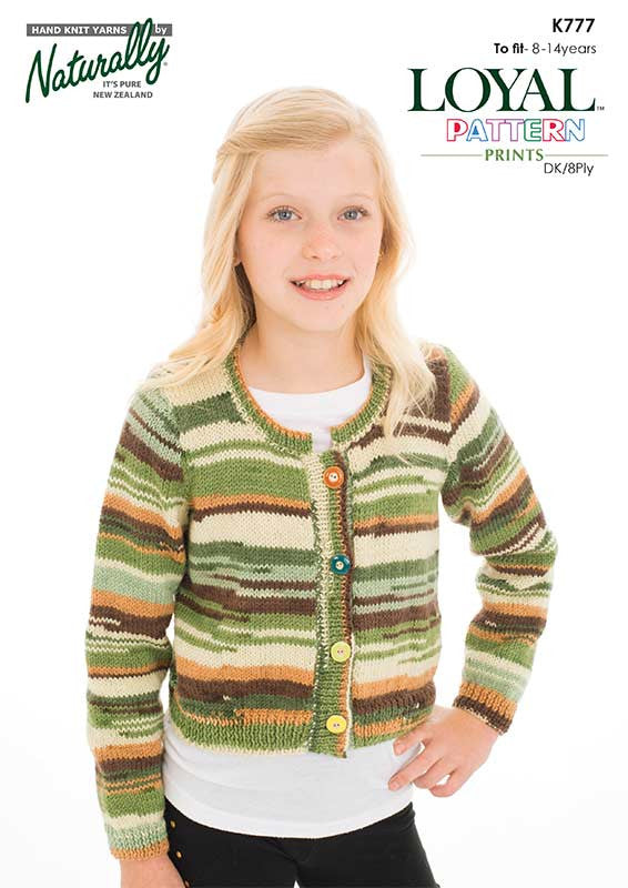 Naturally Knitting Pattern K777 - Girl's Cropped Cardigan in 8-ply / DK for ages 8 - 14