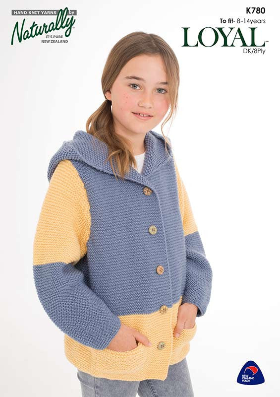 Naturally Knitting Pattern K780 - Girl's Hooded Cardigan in 8-ply / DK for ages 8 - 14