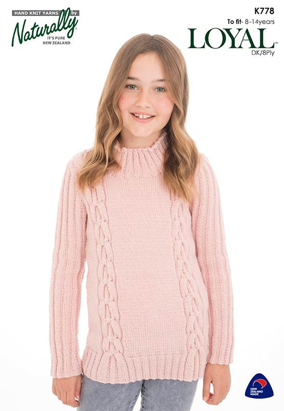 Naturally Knitting Pattern K778 - Girl's Cabled Pullover in 8-ply / DK for ages 8 - 14