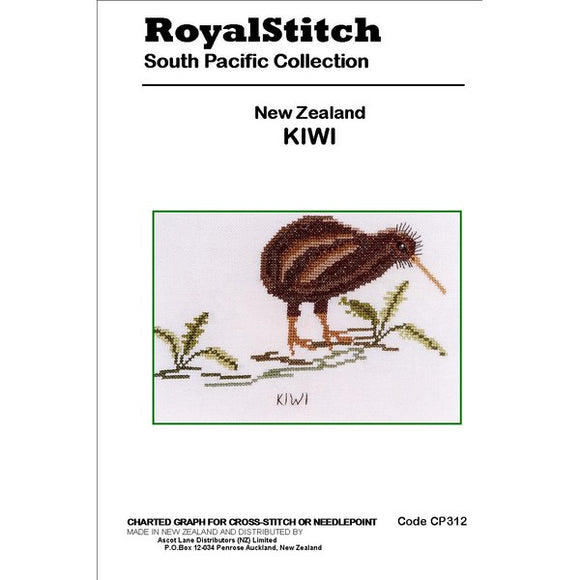 Cross-stitch chart - Royal Stitch New Zealand Kiwi