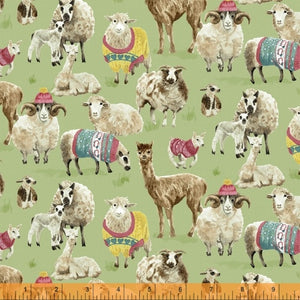 Knit N Purl - Sheep, Lambs, Cria, Llama & Alpacas in Jumpers on a green background