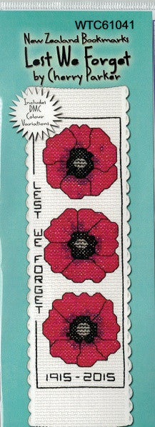 Cross-stitch bookmark - Lest We Forget