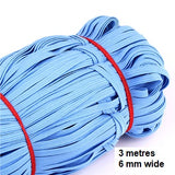 Elastic - Band 3 metre by 6 mm wide pack, in assorted colours