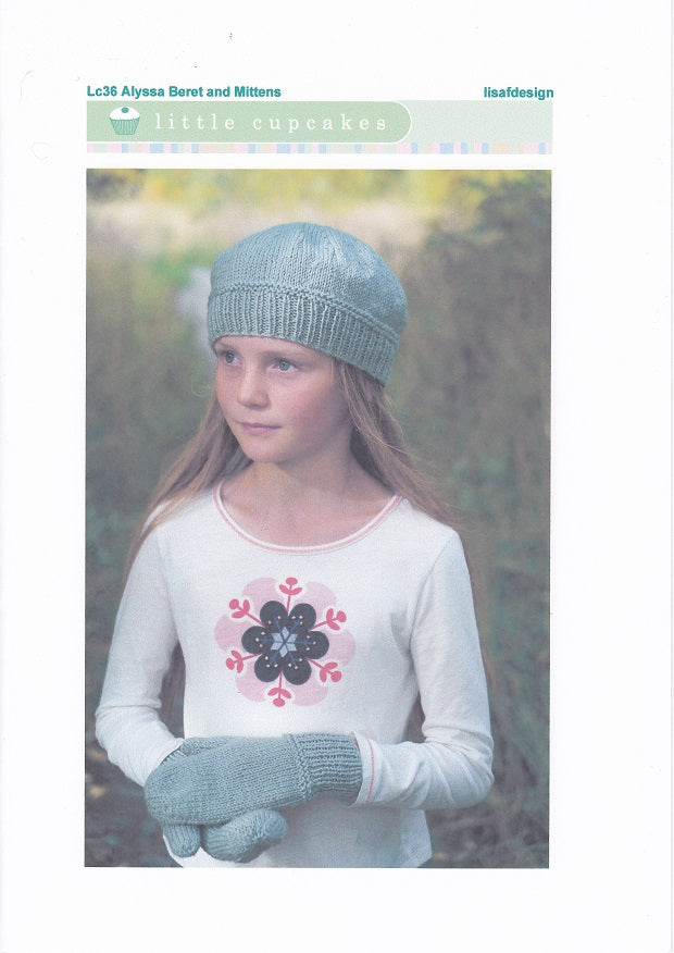 Lisa F Design Knitting Pattern LC36 - Alyssa Beret and Mittens for ages 1-10 years in 8-ply / DK
