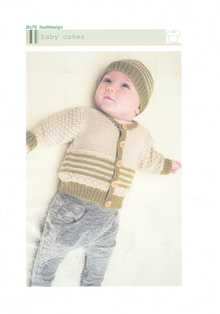 Lisa F Design Knitting Pattern - Baby Cakes Cardy & Hat
