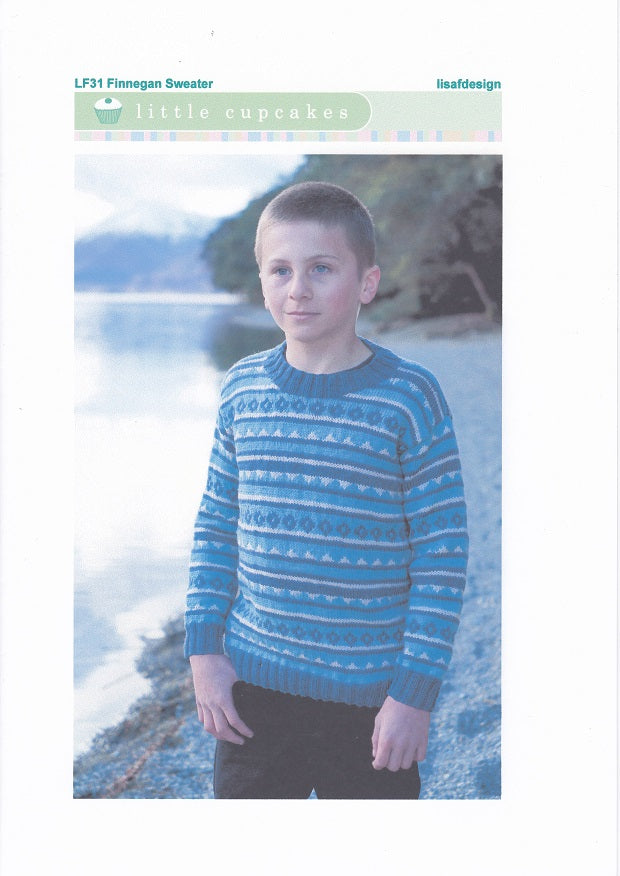 Lisa F Design Knitting Pattern LF31 - Finnegan Sweater for ages 1-10 years in 8-ply / DK