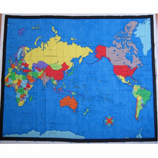 World map panel 90 x 108 cm new zealand centred nz fabrics yarn world map panel 90 x 108 cm new zealand centred gumiabroncs Image collections