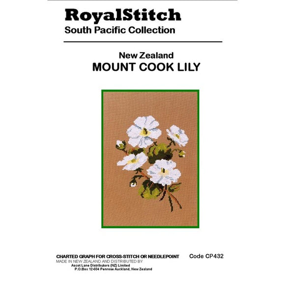 Cross-stitch chart - Royal Stitch New Zealand Mount Cook Lily