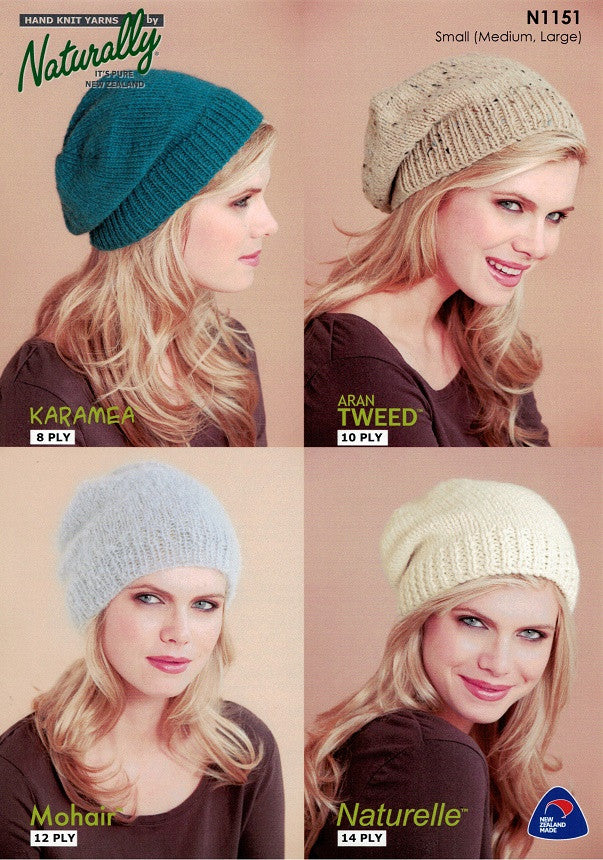 Naturally Knitting Pattern N1151 - Four Ladies Hats in 8, 10, 12 and 14-ply (DK, Worsted, Aran, Chunky)